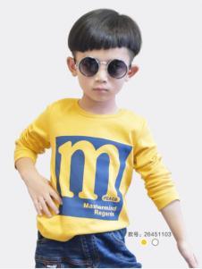乔克叔叔男童长袖字母T恤