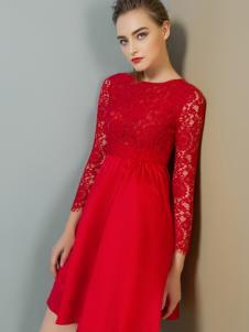 弗卡红色蕾丝连衣裙