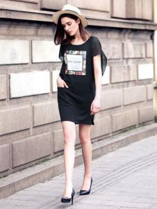 水映女装2016新品黑色连衣裙
