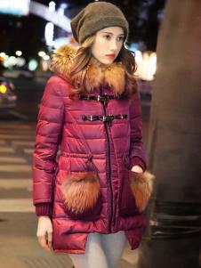 必芙丽秋冬红色羽绒服