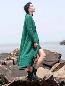 舸贝纶 G+BG 2016新品绿色棉麻风衣
