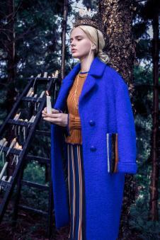 玛克茜妮蓝色毛呢大衣