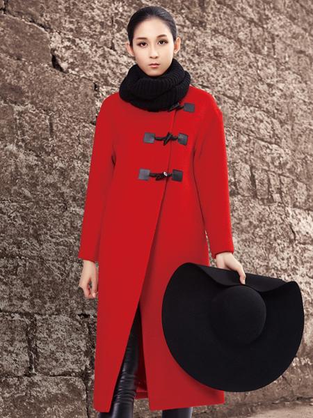 YOSUM红色毛呢大衣