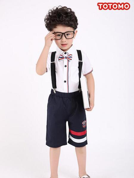 淘淘猫男童蓝色条纹背带短裤
