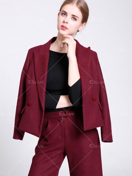 依路佑妮秋季新款酒红色小西服外套
