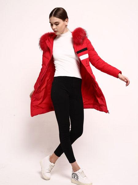 2016丹诗格尔女士红色羽绒服