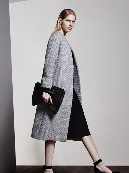 乔帛秋季时尚经典灰色毛呢大衣