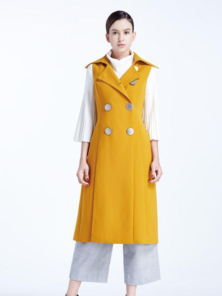 霓秋季长款黄色马甲新款-POSSNEY保时霓品牌女装2016经典流行
