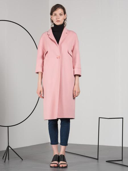 蓝色倾情粉色七分袖韩版大衣