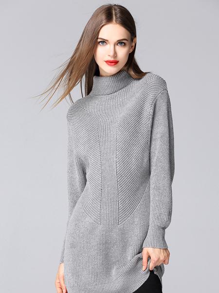 YOSUM灰色中长款毛衣