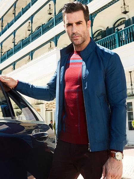 卡度尼男装秋冬新款蓝色夹克