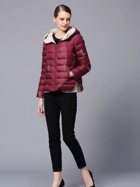 画而诗冬季欧美时尚酒红色羽绒服