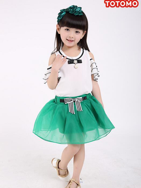 淘淘猫女童绿色半裙