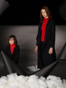 天使舞台母女黑色毛呢外套