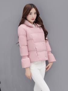 五色五图粉色短款修身羽绒服