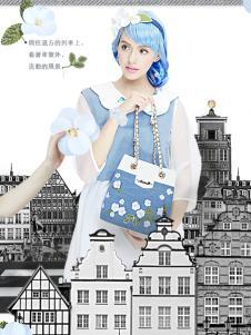 artmi蓝色可爱卡通水桶包新款
