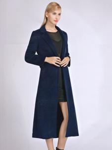 必芙丽蓝色修身长款大衣