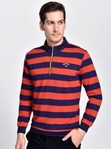 皇卡男装秋冬红蓝条纹长袖T恤