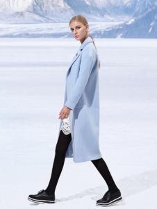 雷索思蓝色长款欧美范大衣