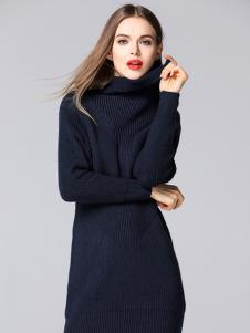 YOSUM蓝色高领毛衣