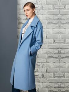 允硕2016长款蓝色大衣