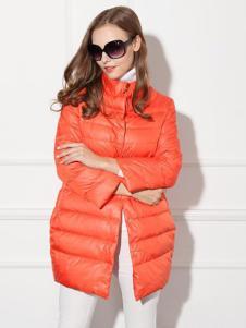 必芙丽橙色羽绒服