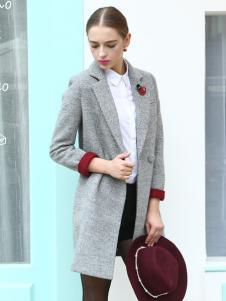 必芙丽灰色翻领外套