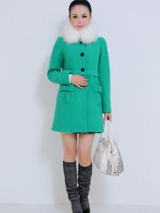珂诺女装长款绿色呢大衣