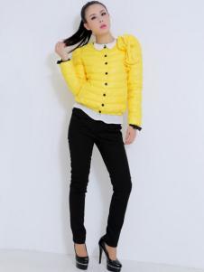 珂诺女装黄色短款羽绒服