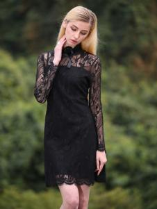 esmle依思麦尔女装2016新品黑色蕾丝裙
