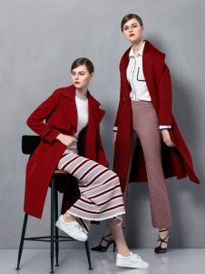 奥伦提女装2016秋冬新款酒红色大衣