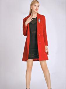 必芙丽秋冬红色毛呢外套
