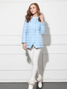 必芙丽蓝色压纹羽绒服