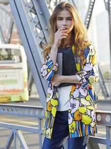 文果怡彩女装2016新品拼色外套