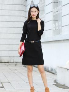卡茵琪秋季黑色时尚连衣裙