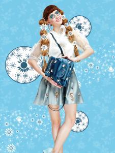 artmi蓝色时尚双肩包新品
