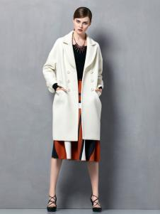 奥伦提2016新款白色廓形大衣