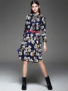 千衣商城女装收腰印花连衣裙