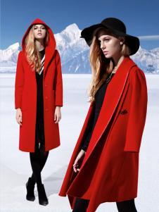 雷索思红色连帽毛呢大衣