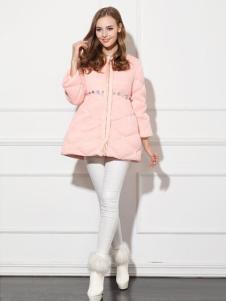 必芙丽粉色A字版羽绒服