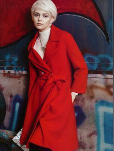 薇妮兰红色毛呢收腰大衣