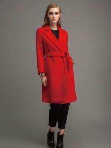 迪索怡红色收身呢子大衣