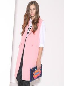 必芙丽粉色无袖外套