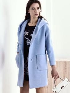 sumsilk夏丝女装蓝色连帽呢大衣