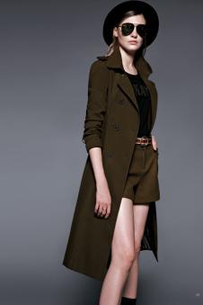 鸢娜尔女装棕色长款修身大衣
