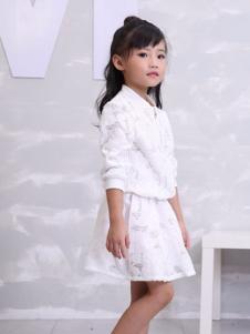 彩虹森林童装2016新品白色套装