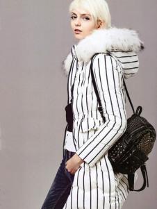 薇妮兰白色条纹连帽羽绒服