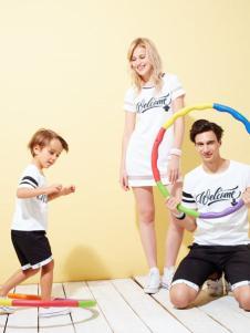 上流家族亲子装2016新品白色套装