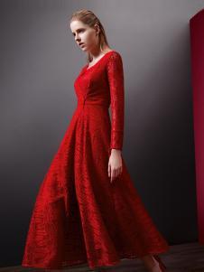乔帛秋季蕾丝大红时尚收腰连衣裙