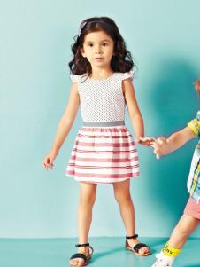 威斯米童装2016新品条纹女裙
